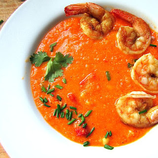 Corn & Red Pepper Bisque w/ Shrimp (no cream!)