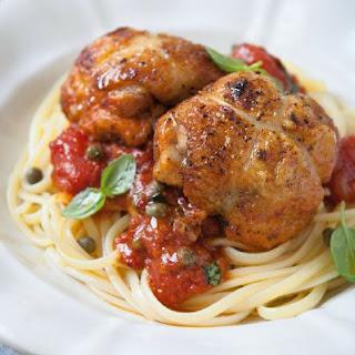 Chicken Puttanesca With Linguine