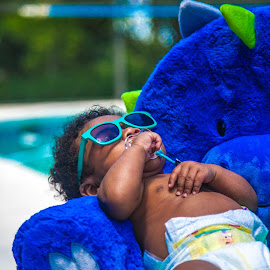 Chubby Monster 3 by Malik Marcell - Babies & Children Babies ( shades, monster, pool, blue, florida, infant, chubby, baby, relaxing, orange juice, gerber, kairo )