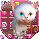 3D White Kitty Animation Theme With Live Wallpaper Icon
