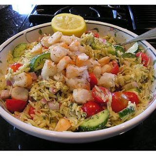 Greek Orzo and Shrimp Salad.
