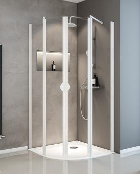 Paroi de douche arrondie avec portes pivotantes, 80 x 80 cm ou 90 x 90 cm
