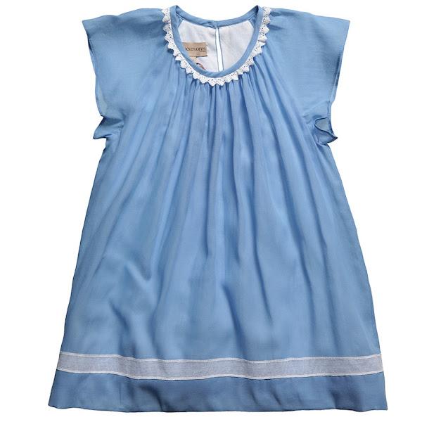 Photo: Hucklebones London   Baby Girls Blue Cotton Dress & Pants 2 Piece Set http://www.childrensalon.com/blue-fluttersleeve-dress.html  Price: £59.00 Size range: 6-18 month