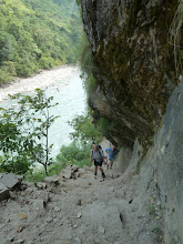 Photo: As the gorge narrows the track follows small ledges, sometimes with steep blasted sections between them