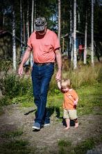 Photo: Grampa takes Rasmus for a walk down to the sea