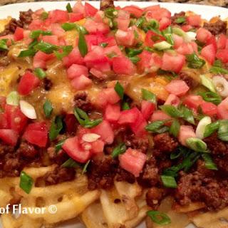 Cheesy Chili Smothered Waffle Fries