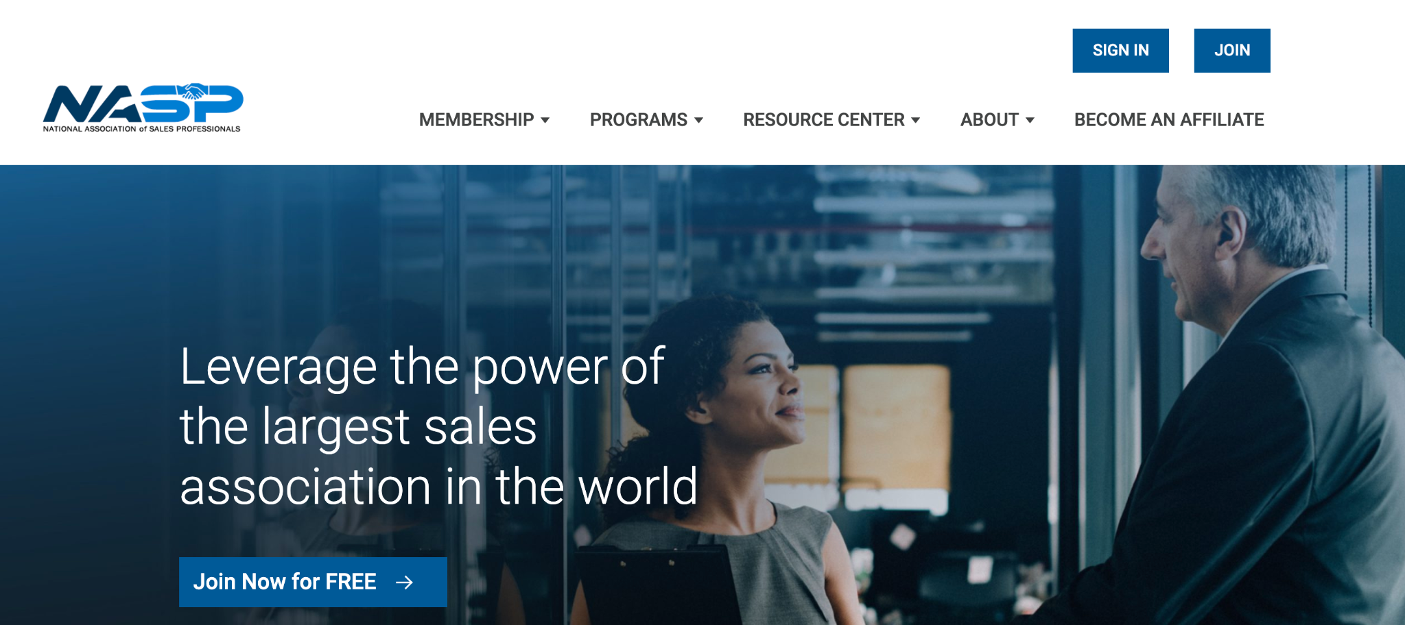 A screenshot of National Association of Sales Professionals' landing page.