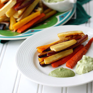 Roasted Carrot And Parsnip Fries With Two Dips
