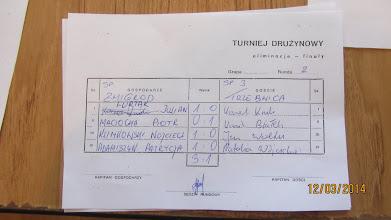 Photo: Protokół z meczu SP Żmigród - SP nr 3 Trzebnica