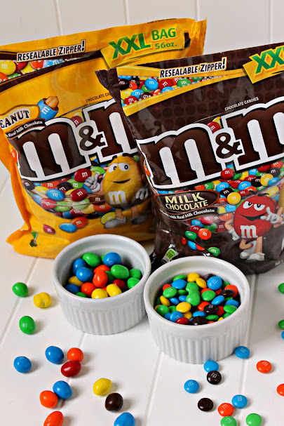 Delicious M&M's® and M&M's® Peanut available in the XXL big bags - great for snacking all summer long