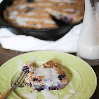 Blueberry Oatmeal Breakfast Cake with Coconut Drizzle.