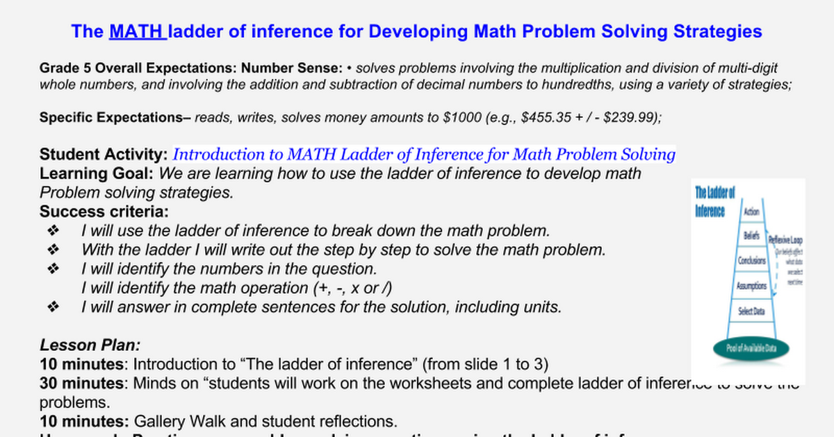 The Ladder Of Inference Approach To Math Problem Solving Google Slides