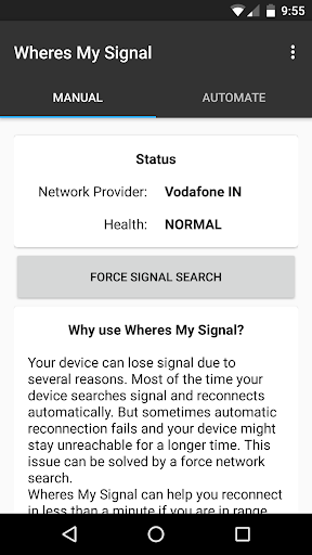Wheres my Signal: Signal Refresher app for Android screenshot