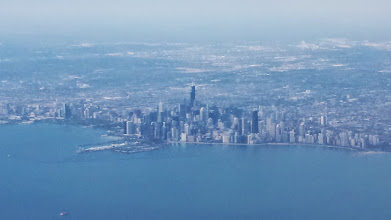 Photo: hazy, but view of Chicago as I was coming in on the airplane