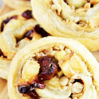 Brie, Cranberry and Walnut Pinwheels.