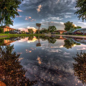 Up Is Down by Nemanja Stanisic - City,  Street & Park  Neighborhoods ( reflection, houses, water reflection, sunset, neighborhood, hood, mailbox, , reflections, people, places, architecture, building )
