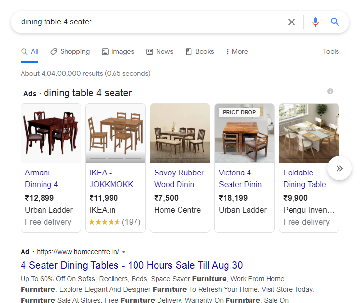google shopping ads for furniture