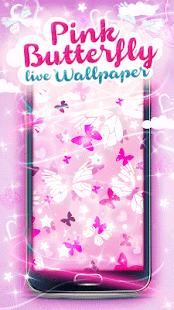 Růžový Motýl Živé Tapety - náhled