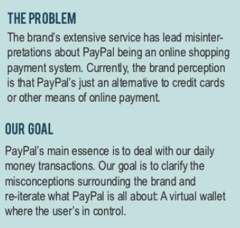 PayPal Sample brief showing The Problem and The Goal