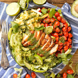 Grilled Chicken Salad with Cilantro Lime Dressing.