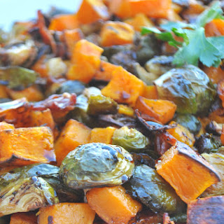 Roasted Brussel Sprouts and Butternut Squash with Balsamic Glaze (bacon optional)