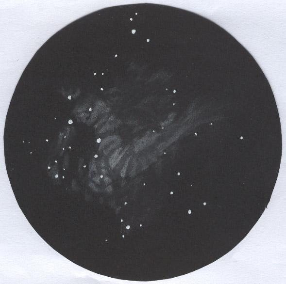 Photo: M17, nébuleuse Oméga, vue dans le T406 à 175X et filtre OIII. Le 6 août 2007.