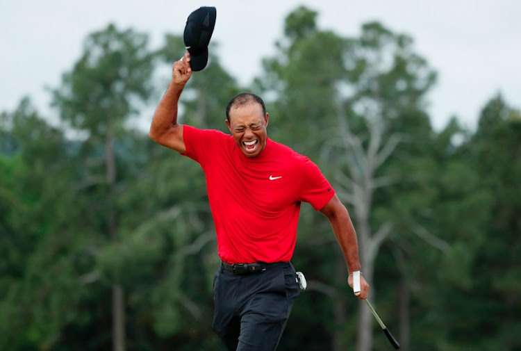 Tiger Woods celebrating after winning the 2019 Masters at Augusta.