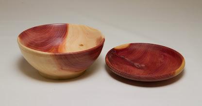 """Photo: Manu Suarez 5"""" x 3"""" bowl and dish [bald cypress]"""