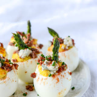 Bacon Blue Deviled Eggs with Roasted Garlic and Asparagus.