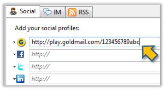 Link to rich media content profile from your email – GoldMail partners with WiseStamp GoldMail