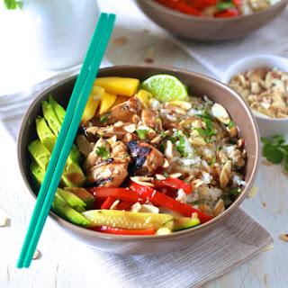 Asian Chicken and Toasted Coconut Rice Bowls
