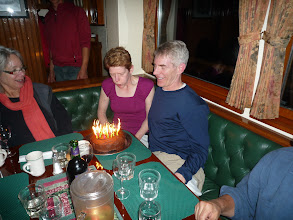 Photo: Our first night was also Karen's big birthday!  Thanks Fern for the awesome cake, complete with 50 candles.  It's a good thing I only look 10 years older than Karen.  Photo by Ben.