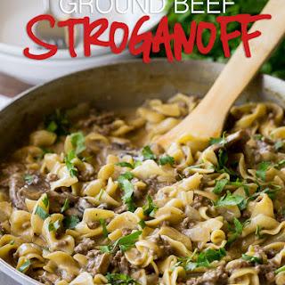 One Skillet Ground Beef Stroganoff.