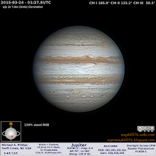 Photo: Jupiter's Red Spot Jr., aka Oval BA has a white spot in the middle.  I'm sure it's been there, but I haven't seen it in some years at this resolution.  I took a chance at some clear skies with average conditions of seeing.  Turned out much NICER!!  As a bonus to being prepared all the equip worked well and I was in the right place at the right time!