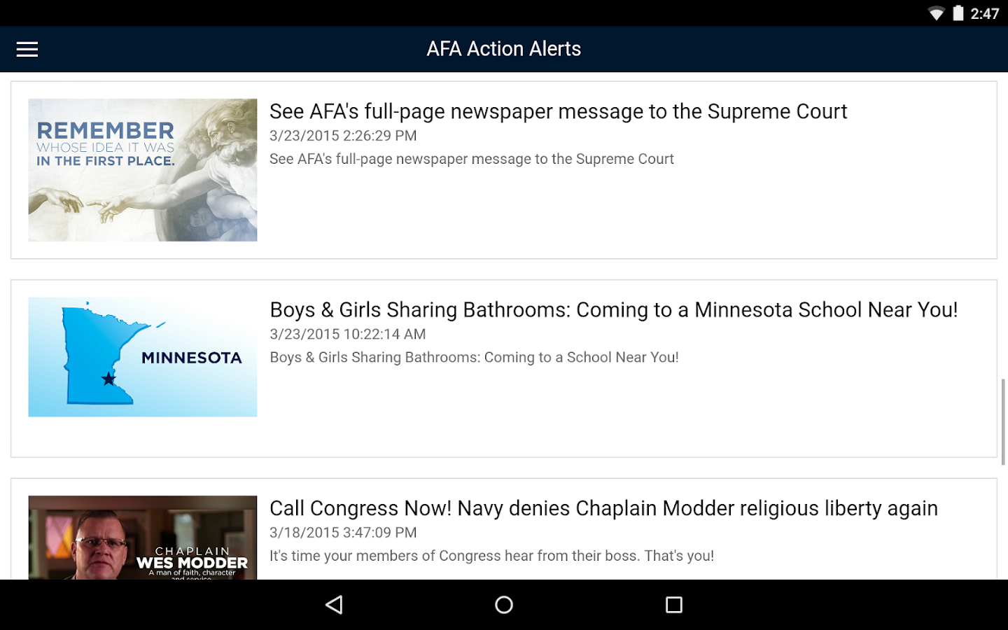 Action Alerts - screenshot