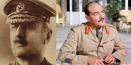 """Photo: O General Edmund Allenby em foto do exército e o ator Jack Hawkins, que assumiu o papel do comandante em """"Lawrence da Arábia""""."""