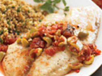 Roasted Tilapia with Fire-Roasted Tomatoes & Olives
