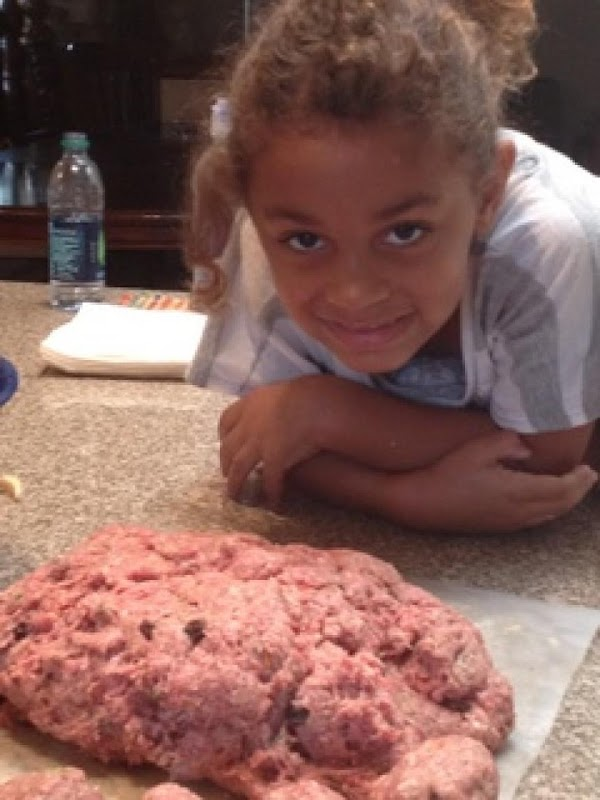 Add ground beef to bread mixture, folding to incorporate all ingredients.