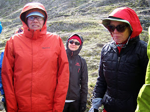 Photo: Michele, Diane and Pam try not to shiver while listening to the guide