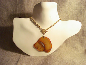 Photo: <BEREHYNYA> {Great Goddess Protectress} unique one-of-a-kind statement jewellery by Luba Bilash ART & ADORNMENT  Agate, 14K gold vermeil watch chain NFS