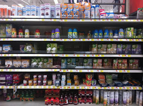 Photo: The Air Wick products are most of the 2nd shelf down, 3/4 of the 3rd and 4th shelves down and a few items on the next to the bottom shelf.