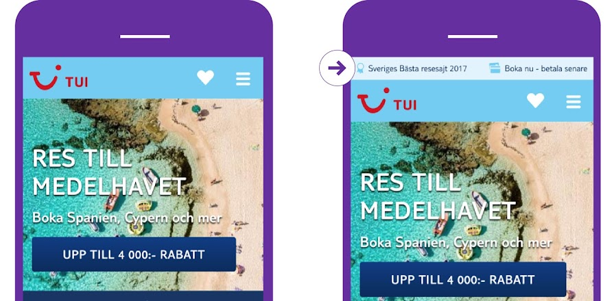 TUI case showing value proposition above the fold