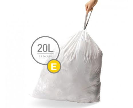 Avfallspåsar till Simplehuman 3 x pack med 20 påsar(60-påsar)  TYP E