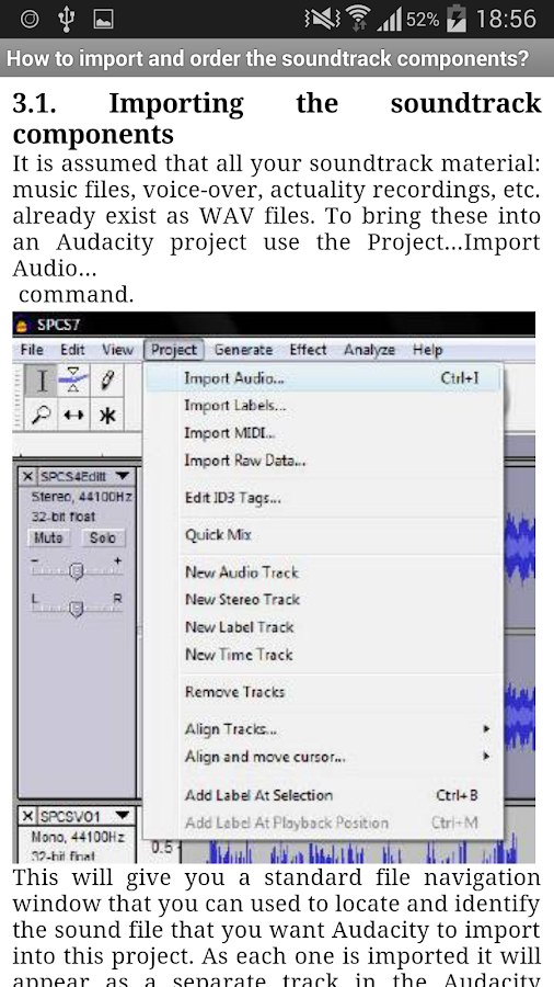 how to add an audio track in audacity