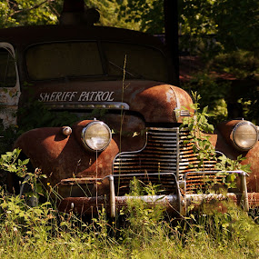 The Sheriff Patrol by Angelika Sauer - Transportation Automobiles ( automobiles, old vehicles, patrol, unique, great finds, angelika sauer, beauty, transportation, usa, romance, story, automotive, time, american history, nature, sheriff, treasure, photographer, rust, past times, antiques, hidden objects, rare things, vintage, green, history, brown, oldtimer )