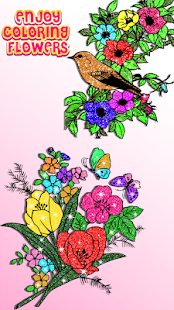 Flowers Color By Number Glitter Coloring Book