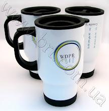 Photo: Брендовані кружки в автомобіль з лого WDPR pr-agency. Металеві автокружки, друк за технологією Гравертон