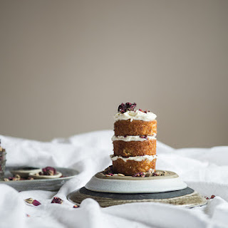 Miniature Almond Cake With Rose Mascarpone Frosting