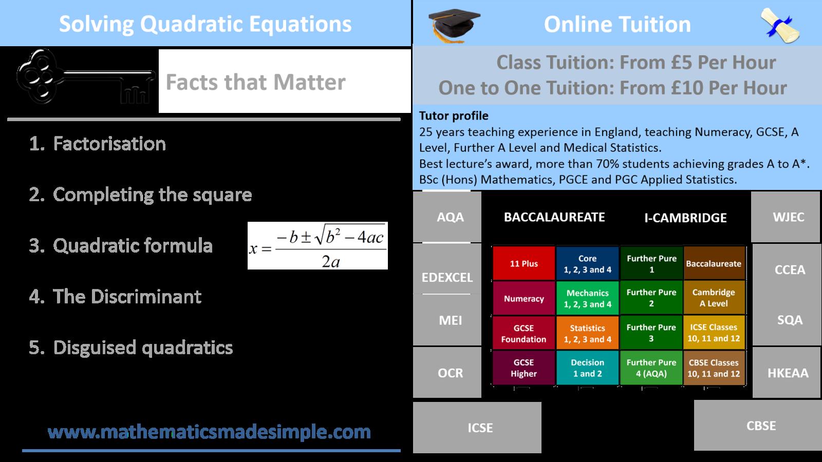 C1 Algebra Solving Quadratics Screenshot