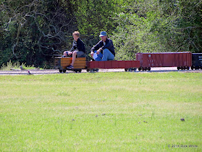 Photo: Mike and Case Alexander passing through West Sumrall without the conductor  HALS OPS Day 2014-0329 RPW